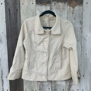 Forever 21 Cream White Wool Peacoat Button Up